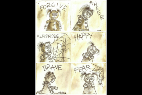 clockwise from top L: Forgive, Anger, Happy, Fear, Brave, Surprise