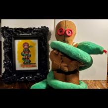 Ophidio handmade doll with framed print